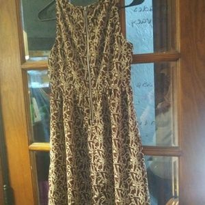 Fossil brown and cream small dress